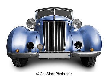 Old blue car on white background