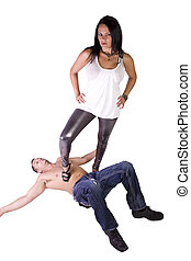 Sexy image of a woman dominating over man