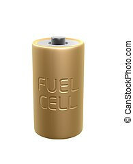 golden fuel cell battery on white background