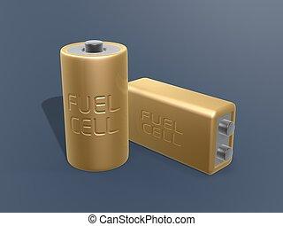 dourado, combustível, célula, bateria