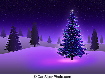Christmas Tree - Stock image of pine tree with colorful...