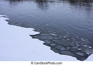 Thin Ice - Winter scene showing thin ice and fresh snow at...