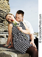 love couple - happy couple celebrating their engagement and...