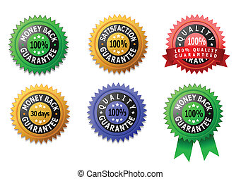 Vector labels for satisfaction, quality and money back...