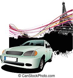 Light blue car with Paris image background. Vector...