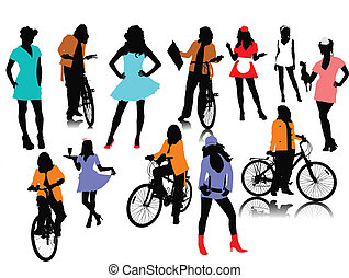 Twelve woman silhouettes. Vector illustration