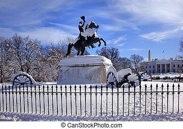 Andrew Jackson Statue Canons President's Park Lafayette Square White House After Snow Washington DC 1850 Clark Mills Sculptor