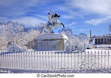 Andrew Jackson Statue Canons Abstract President's Park Lafayette Square White House After Snow Washington DC 1850 Clark Mills Sculptor