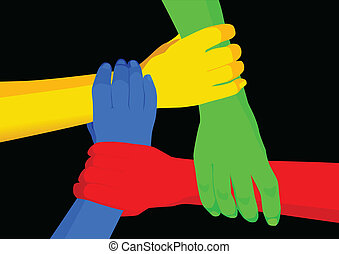 Unity in Diversity - Stock vector of people holding hands