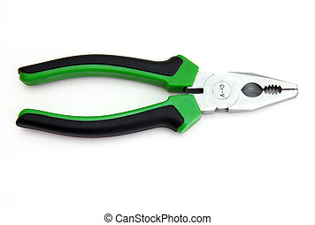 Flat-nose pliers with green handles and black strips on a...
