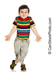 Little boy shrugging shoulders against white background