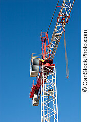 Construction Crane - A Red and White Construction Crane with...