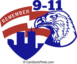 9-11 American bald eagle flag - illustration of an American...