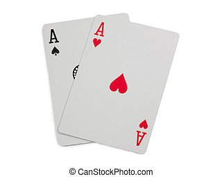 Two aces Isolated on white background with clipping path