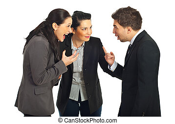 Business people conflict - Two nervous business people...