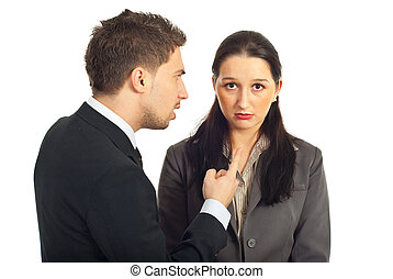 Boss argue employer woman - Nervous boss argue and pointing...