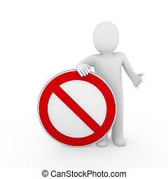 3d human stop red sign white warning