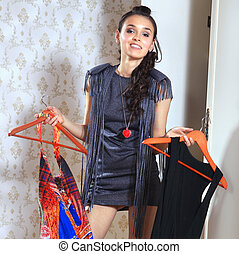 woman dont know what to wear - beautiful young woman dont...