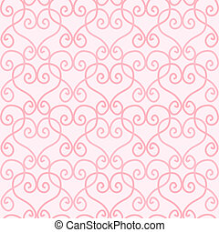 Seamless Linked Heart Background - Pink linked hearts on...