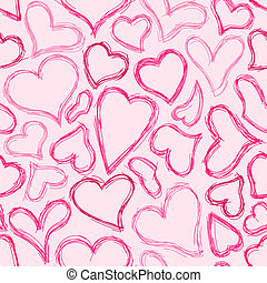 Seamless Sketched Heart Background - Pink sketched hearts on...