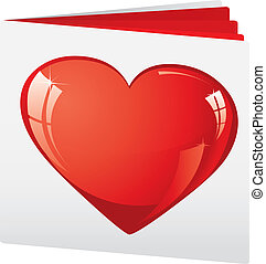 Book with heart on top as love brochure, vector illustration