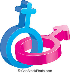 Two crossed glitter sex signs, male and female symbols, blue...