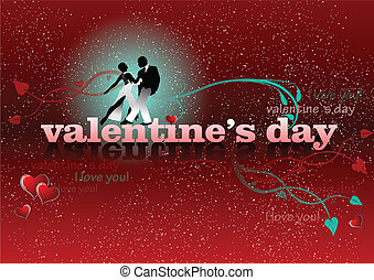 Valentine`s Day red background with tango pair. 14 February....