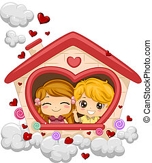 Kids in a Playhouse - Illustration of Kids in a Playhouse