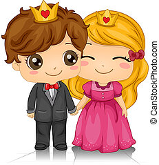King and Queen of Hearts - Illustration of a Couple Wearing...