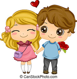 Holding Hands While Walking - Illustration of a Couple...