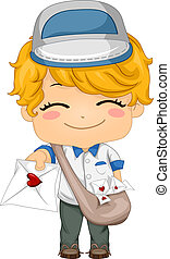 Mailman - Illustration of a Mailman Handing Out a Love...