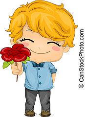 Boy Presenting a Flower - Illustration of a Boy Presenting a...
