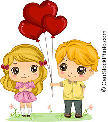 Boy Giving Balloons - Illustration of a Boy Giving a Girl a...