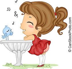 Serenade - Illustration of a Bird Serenading a Girl