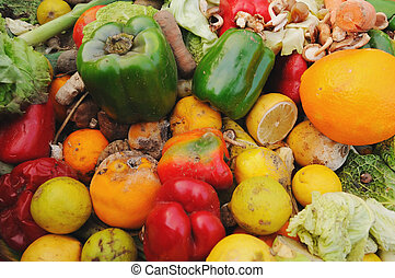 Rotten fruit and vegetables - A dumpster full of rotten...