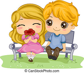Kids on a Date - Illustration of a Couple on a Date