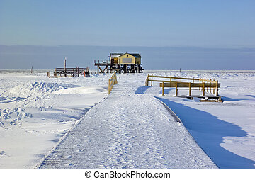 Beach of St. Peter-Ording in winter - Beach of St....