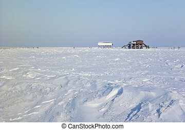 Beach of St Peter-Ording in winter - Beach of St...