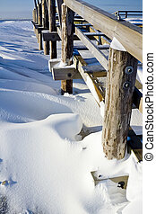 Snowbank - Bank of snow in St Peter-Ording, Germany