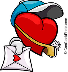Heart Mailman - Illustration of a Mailman Delivering a Love...