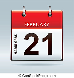 Mardi Gras Calendar 2012 icon with red banner date reminder