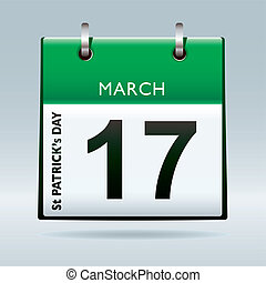 St Patricks Day Calendar green icon for irish holiday