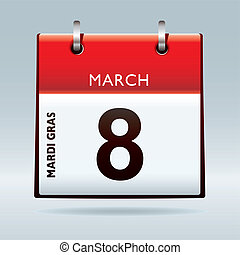 Mardi Gras Calendar icon for 2011 with red top