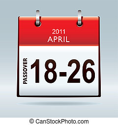Passover calendar 2011 icon with red banner and drop shadow