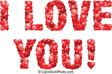I love you! - Vector proclamation of love in red balloons