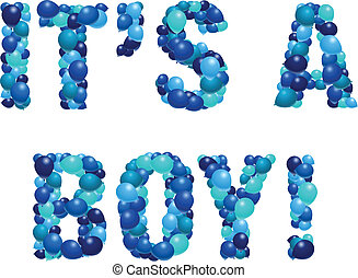 It's a boy - Vector birth announcement in balloons - boy...
