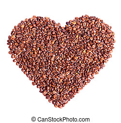 a coffee in the shape of heart isolated on white
