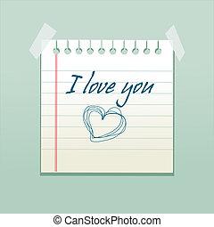 mensagem, papel, Amor, caderno