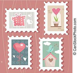 set of valentine`s day postage stamps,  illustration