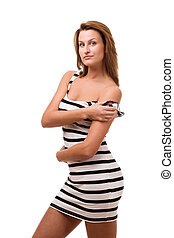 Beautiful girl posing with nacked shoulder